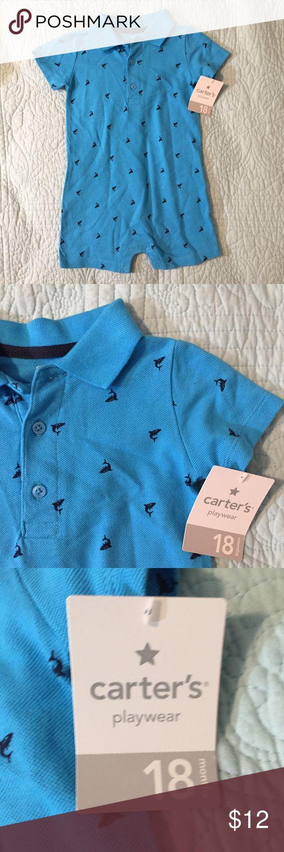 Carter's Blue Shark Romper, 18 Months Carter's Blue Shark Romper Size 18 Months New With Tags Smoke Free Home Carter's One Pieces