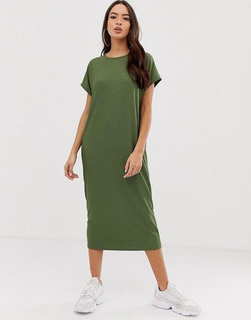 b33f1d3749525 DESIGN rib oversized midi t-shirt dress in 2019 | Spring/Summer ...