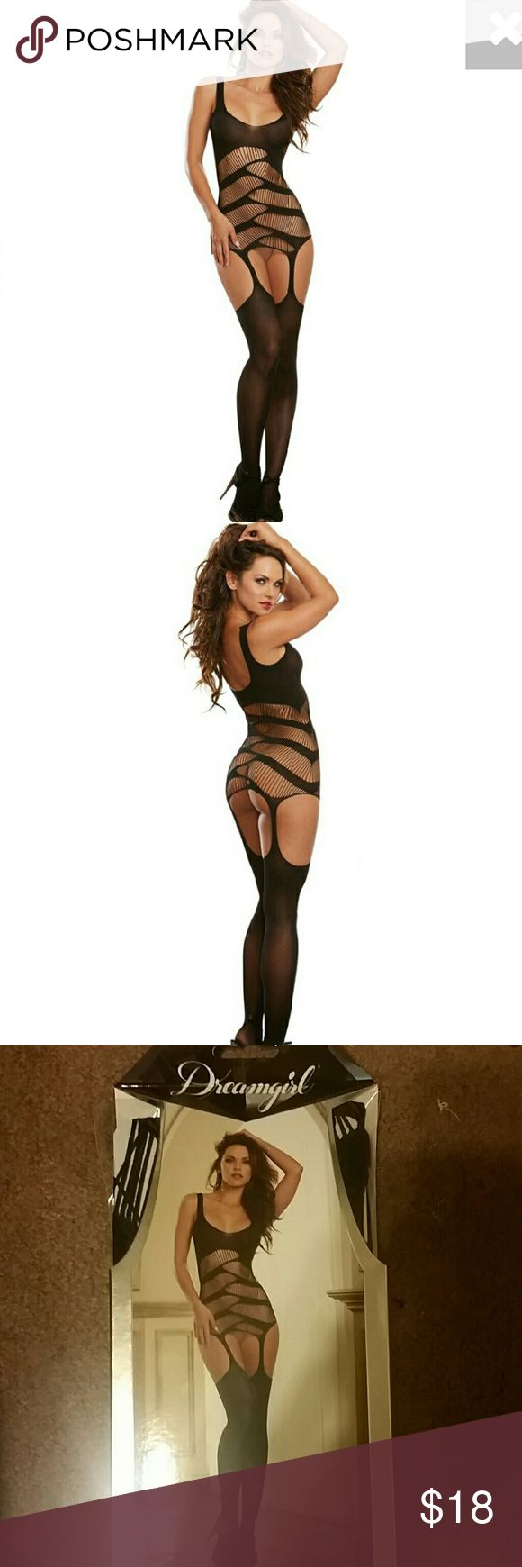 Dreamgirl Sexy Bodydress with Garters *NEW* Black semi opaque garter dress with strappy cut out details, attached garters and matching thigh high Stockings (g-string not oncluded) brand new in box. One size fits most. Dreamgirl  Intimates & Sleepwear Shapewear