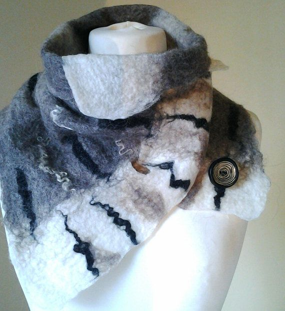 Felted scarf Black and White scarf wool felted by Beautifulfelts