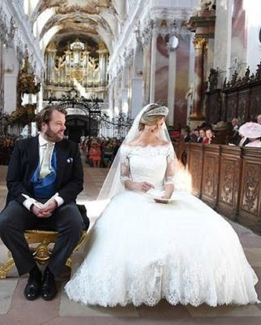 Hereditary Prince Ferdinand of Leiningen and Princess Viktoria Luise of Prussia during their religious wedding ceremony at the Princely Abbey Church in Amorbach on September 16, 2017 Royal Family Around the World