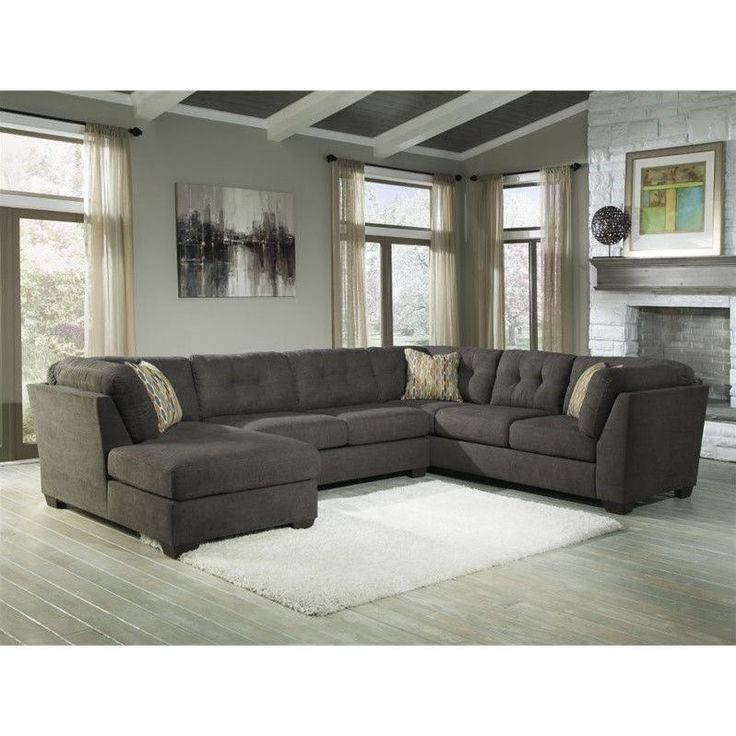 Lowest price online on all Ashley Furniture Delta City 3 Piece Right Facing Sectional in Steel - 19700-16-34-38-PKG
