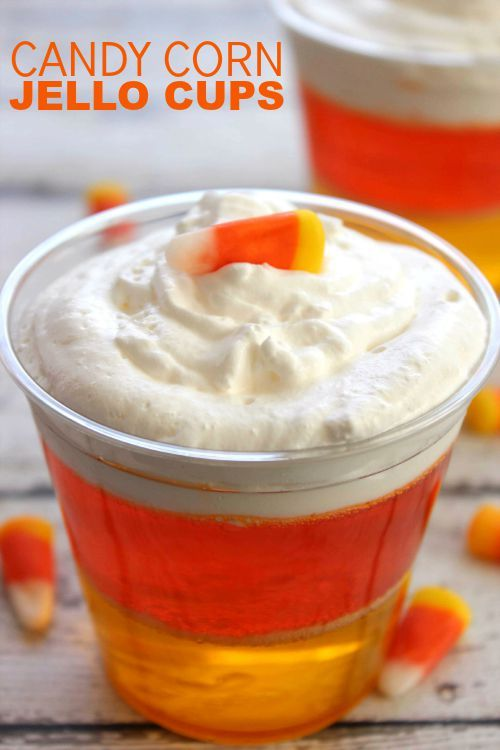 Candy Corn Jello Cups for Halloween and Thanksgiving! Easy Party or Snack Recipe for Kids!