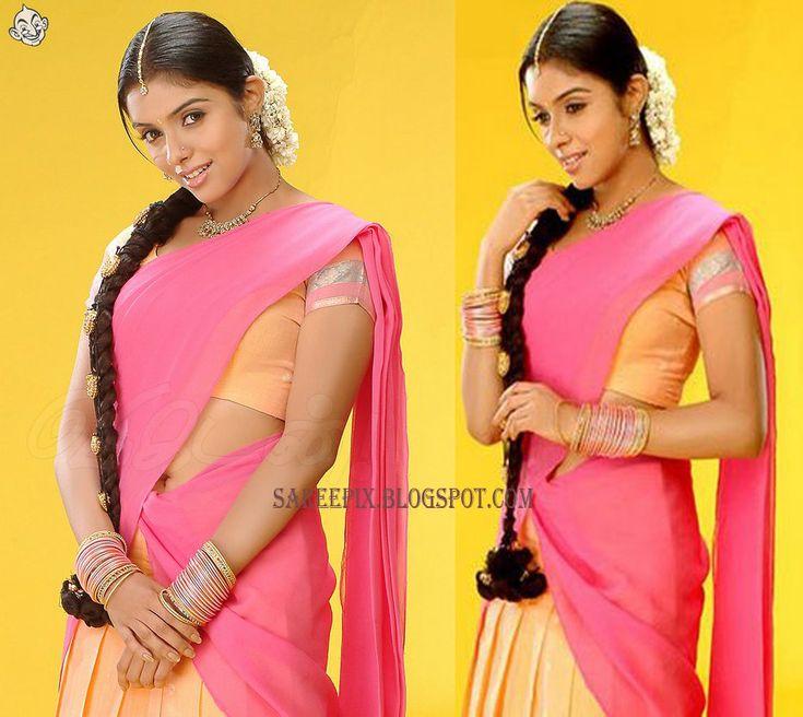 Asinn in pink half saree stills