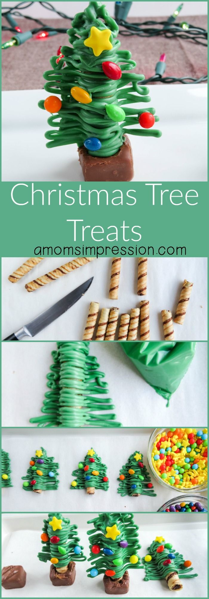 Simple and easy Christmas Tree treats made out of a cookie, icing and a small candy bar. Perfect gifts for teachers and neighbors this holiday season.