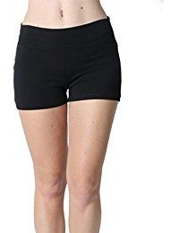 2af07260eb Women Yoga Shorts - Fold Over Cotton Shorts for Gym Girls   teen ...