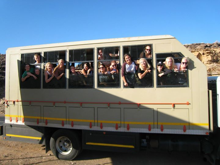 Fun on the bus enroute to the Orange River. Everybody loves our 16-seater Dyna.