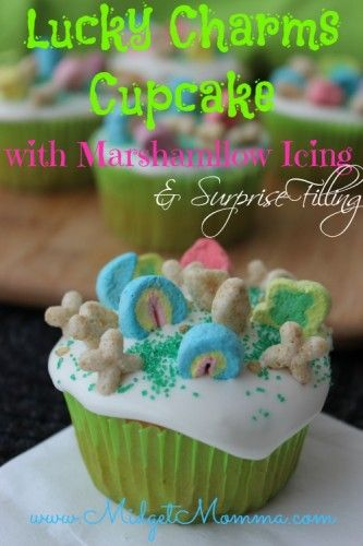these Lucky Charms cupcakes with Marshmallow Icing and Surprise filling. This st. Patrick's Day cupcake will be a huge hit with the kids! They are going to love it when they bite into it and find the surprise in side :)