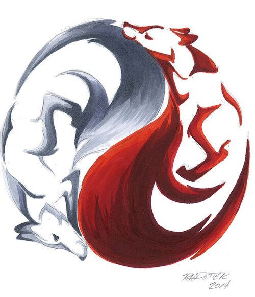 One Red Fox & One White Fox Yin Yang Design art