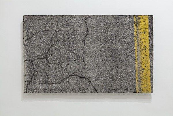 Zhanna Kadyrova, DATA EXTRACTION - Autostrada SA-RC, 2013, asphalt, metal, epoxy resin, 126 x 212 cm. Galleria Continua San Gimignano, 2013. Photo by Ela Bialkowska