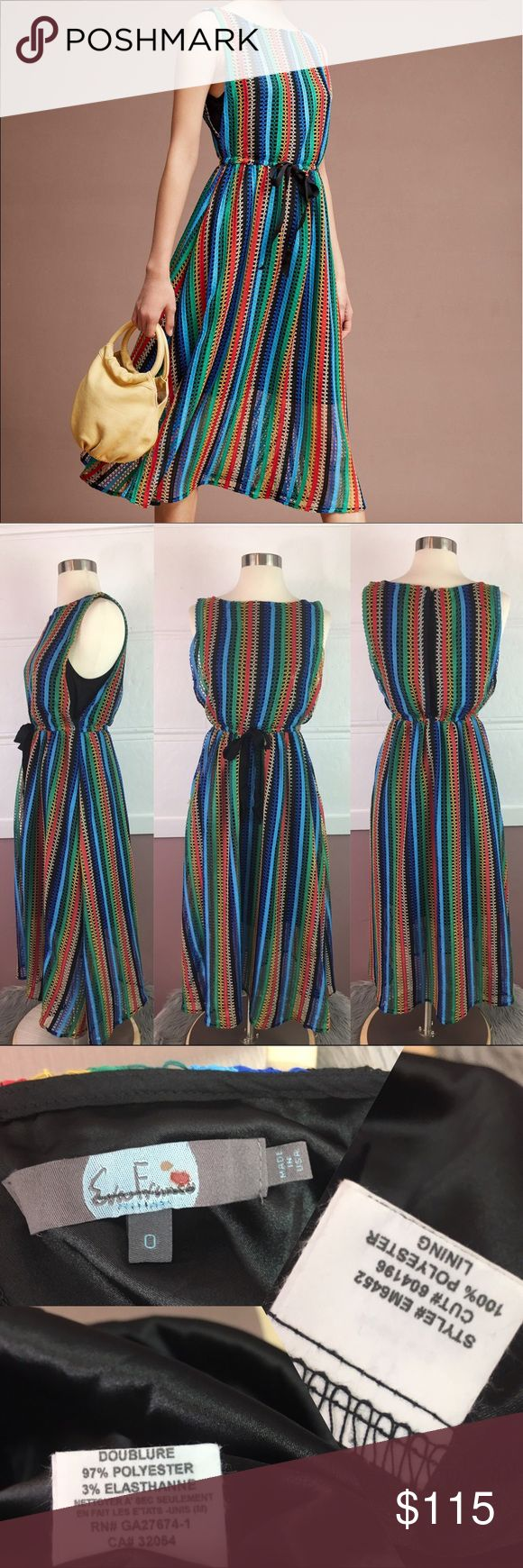 NEW Eva Franco Rainbow Crochet Midi Dress Brand new never worn. Brand marked to prevent in store returns. Sold at Anthropologie. A few loose strings pictured Anthropologie Dresses Midi
