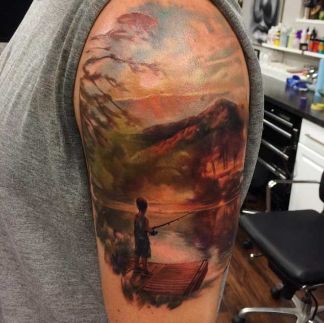 Share Tweet Pin Mail Landscape tattoos are a relatively new concept. Let me rephrase that. Quality color landscape tattoos are a relatively new concept. ...