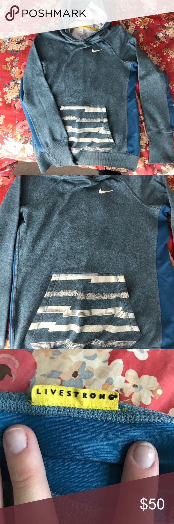 Nike Livestrong Sweatshirt RARE Nike Livestrong Sweatshirt!! Size small! Really warm Therma-Fit technology. Great for athletes or anyone on the go! Really soft fleece on the inside, and lightweight. Nike Tops Sweatshirts & Hoodies