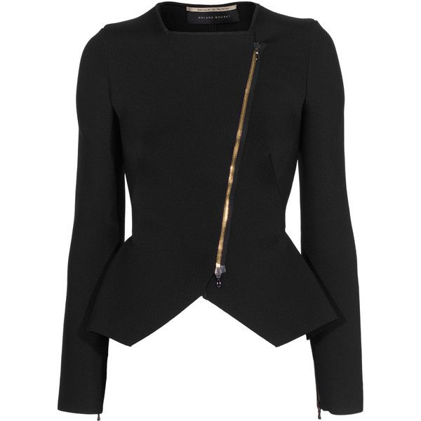 Roland Mouret Zabrus Black // Stretch blazer with peplum ($1,075) ❤ liked on Polyvore