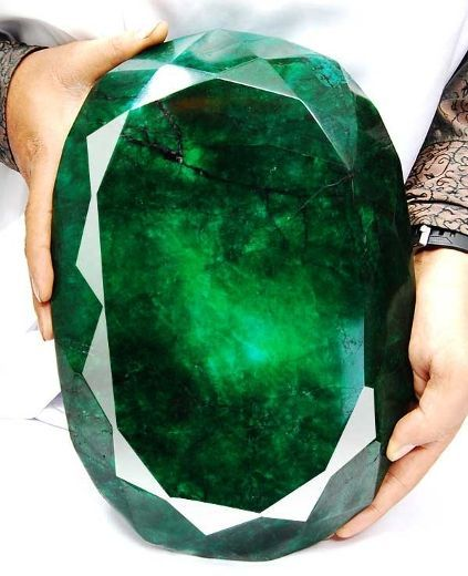 Teodora Emerald. 57,500 carats. It's the biggest emerald that's ever been cut with facets.