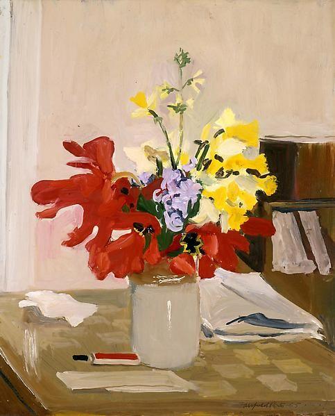 """Anemone and Daffodil,"" Fairfield Porter, 1965, oil on Masonite, 20 x 16 1/8"", Michael Rosenfeld Gallery."