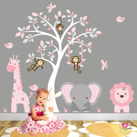 Jungle Decal, Pink and Grey nursery decor. Cheeky monkeys, giraffe, elephant, Lion, white tree mural. Baby Girls Safari Wall Stickers