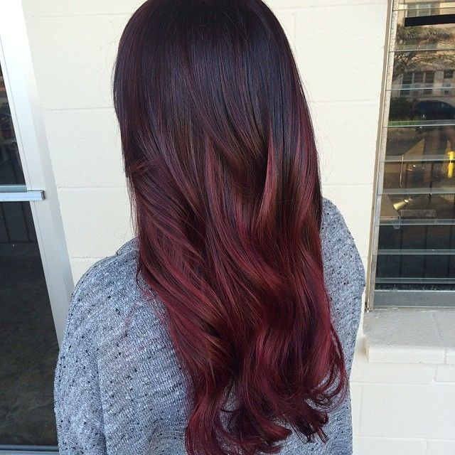 Dark Brown To Marsala Ombre Hair
