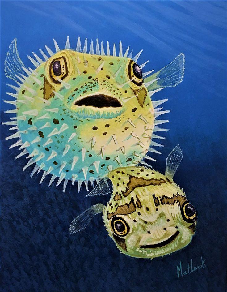 Puffer Fish - 11x14 acrylic meduims | Marine life, Marine ...