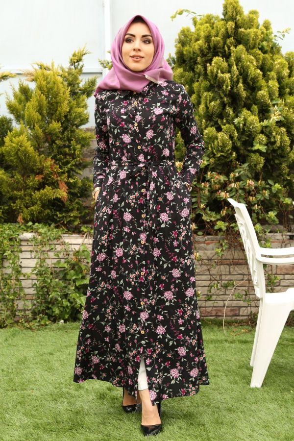 Boydan Düğmeli Tahta Düğmeli Elbise 2068-5