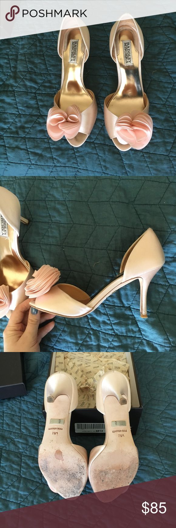 """Badgley Mischka - Thora heels pink satin Super fun and cute pink heels- Worn once on my wedding day. Minimal noticeable damage. Mainly the heel has grass stains most on the left shoe.  The toe/ heel is worn but can't be seen when worn. I loved the height of this shoe so much - 3 1/4"""" - very manageable for all day wear and I loved the pop of feminine color for the wedding day. :) comes with additional heel pegs, box and paper inserts. I wear a 7.5/8 and these fit perfectly so they run pretty…"""