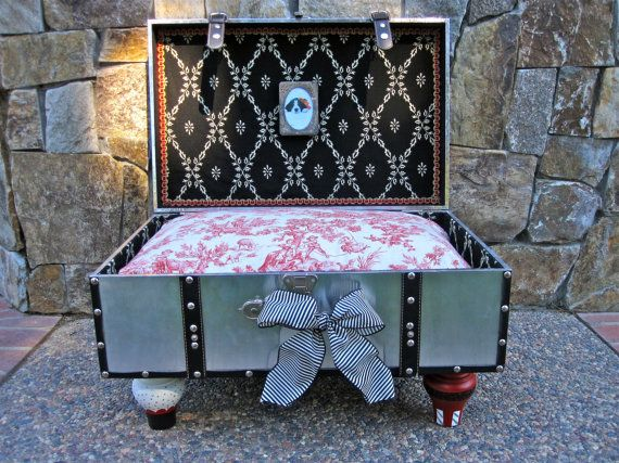 Dog Bed Suitcase  Cat  Toile  Silver by LadidaHandbags on Etsy, $175.00