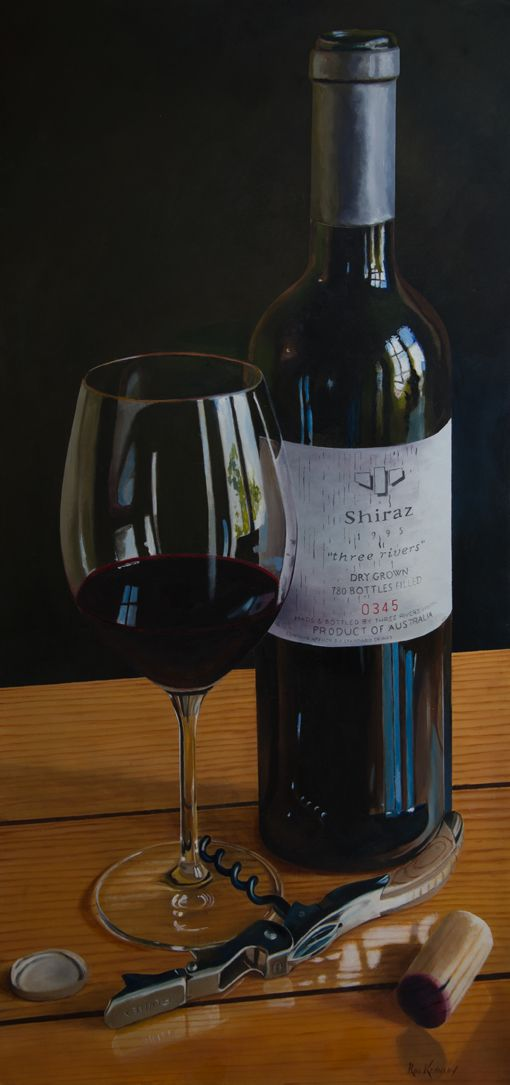 Three Rivers Shiraz, oil on fine cotton duck.  This wine is almost impossible to buy in Australia due to its popularity overseas.