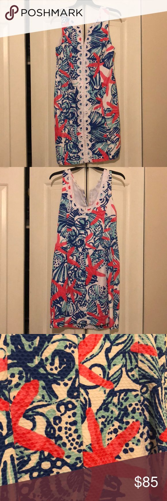 Red, white, and blue Lilly Pulitzer dress! This one is so hard to let go!! One of my favorite prints, perfect for a night out or 4th of July!  Lovely detailing with a beautiful print.  Size 8! My lighting is super amateur and poor, but I swear the white is Indeed WHITE on the dress, not yellow at all! Lilly Pulitzer Dresses