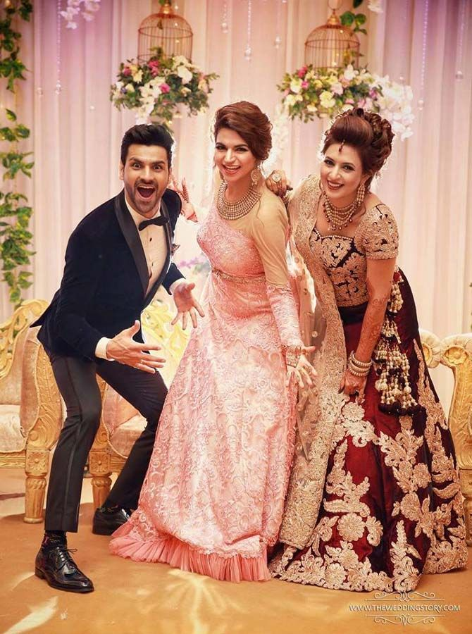 Divyanka Tripathi and Vivek Dahiya with a friend at their wedding reception in Chandigarh. #Bollywood #Fashion #Style #Beauty #Hot #Sexy #Ethnic #Wedding