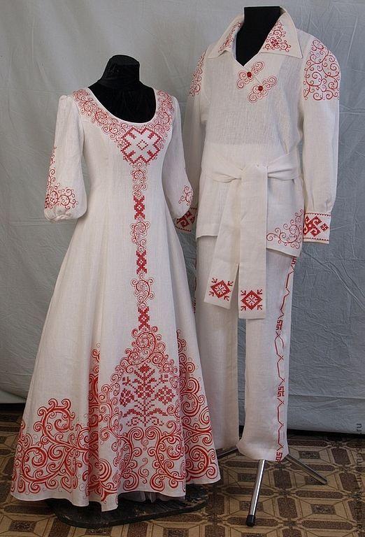 Купить Свадебный комплект Макошь - ярко-красный, свадебное платье, русский стиль, русская традиция
