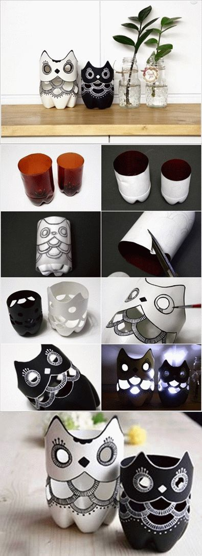 DIY Plastic Owl Vase from Bottles....cute <3 <3 <3