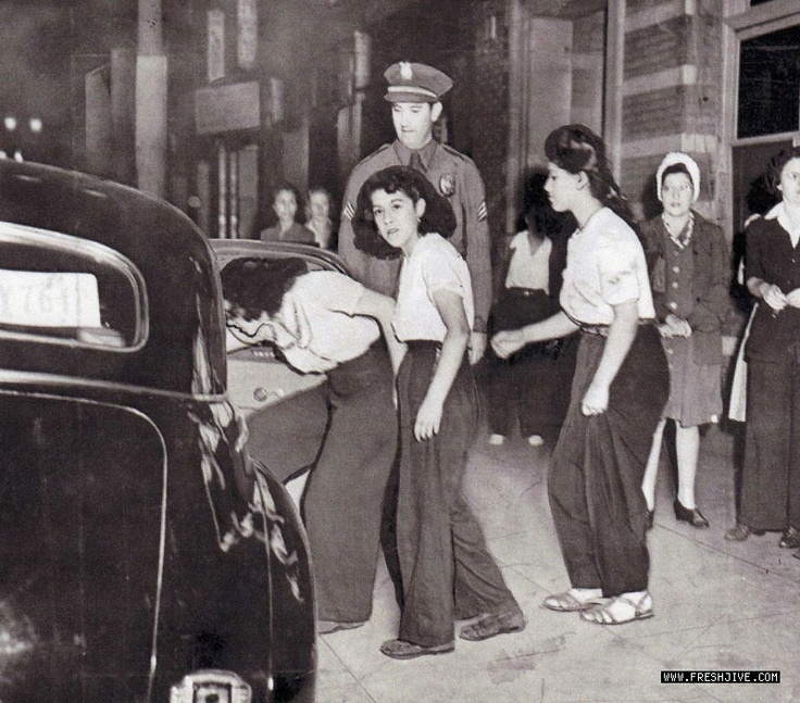1940s Los Angeles Zoot Suit Riots, but look at those Pants!! I want some!