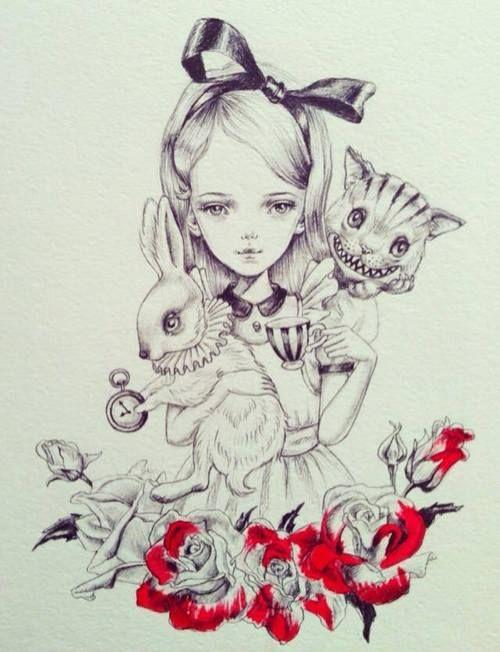 Julie Filipenko / Alice white rabbit Cheshire Cat painting the roses red tea time