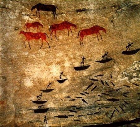 Роспись, изображающая редкие сцены рыбной ловли в горах Дракенсберг (Южно-африканская республика).