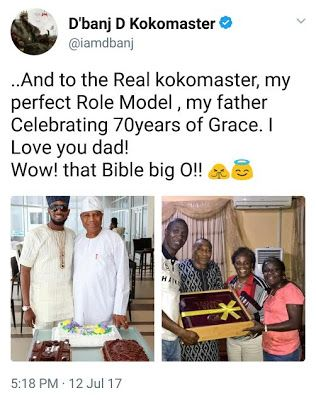 DBanj celebrates his father on his 70th birthday   Kokomaster  Oladapo Daniel Oyebanjo aka DBanj took to his twitter page this evening to celebrate his father who turned 70-year-old today with loving words.    The post DBanj celebrates his father on his 70th birthday appeared first on Nigerian Hive  Naija Gist Latest Gossip Nollywood Movies Music News Naija Latest News Entertainment Nollywood Gossip from Nigeria.  2017 at 10:58PM Gossip July 12