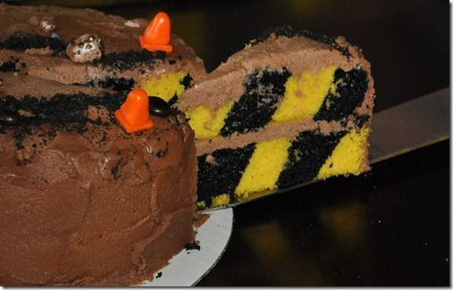 The 'caution tape' type striping on this cake is great!