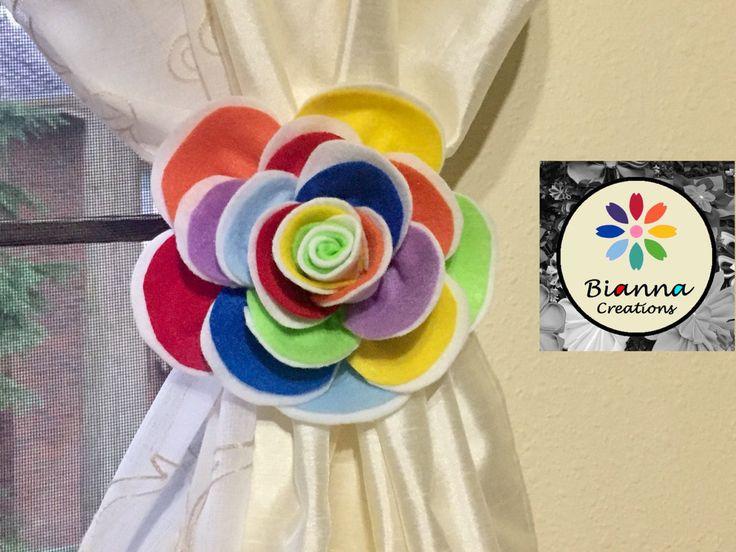 Handmade Rainbow Felt Rose Flower Curtain Holdback Tieback - Baby Nursery Room Decoration by BiannaCreations on Etsy