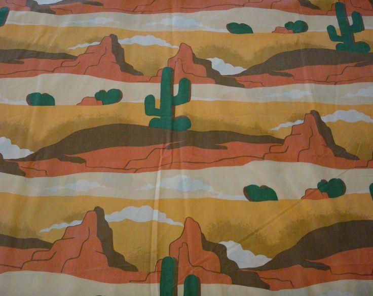 Southwestern Cactus Print Flat Sheet 89.5  x 102  Cutter Fabric Crafts Sewing