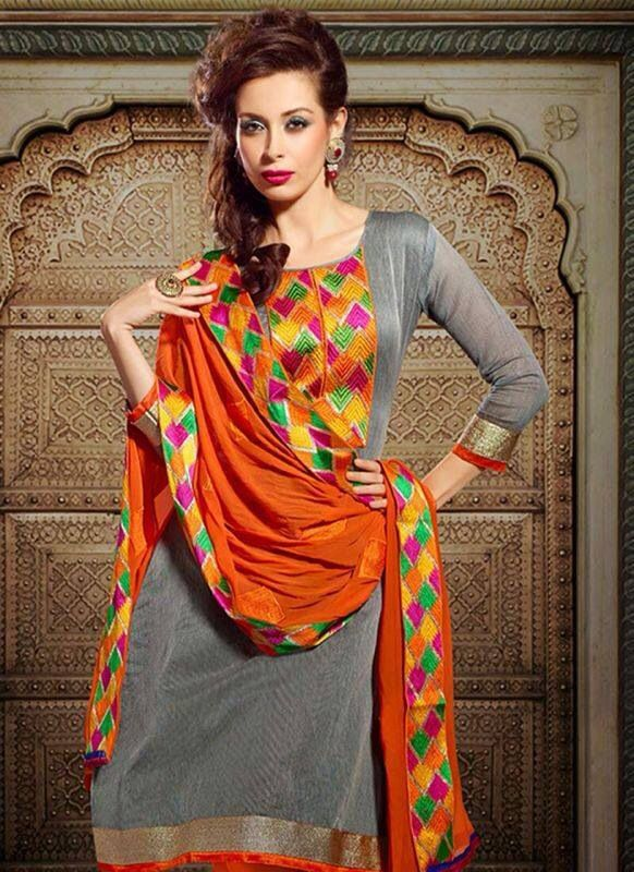 #Phulkari #suit great combination Visit Our Store: http://www.ethnicwholesaler.com/salwar-kameez/party-wear-salwar-kameez