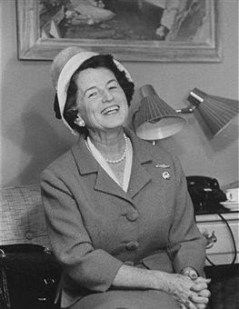 Rose Fitzgerald Kennedy, wife of former US Amb. to GB, Joseph Kennedy, sitting in hotel room while on campaign trail for son Jack, who is Dem. presidential candidate.