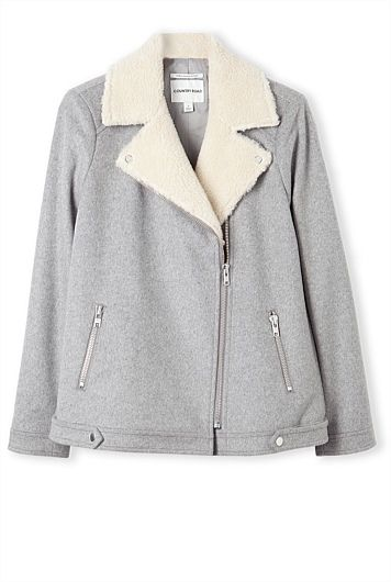 Faux Shearling Collar Jacket