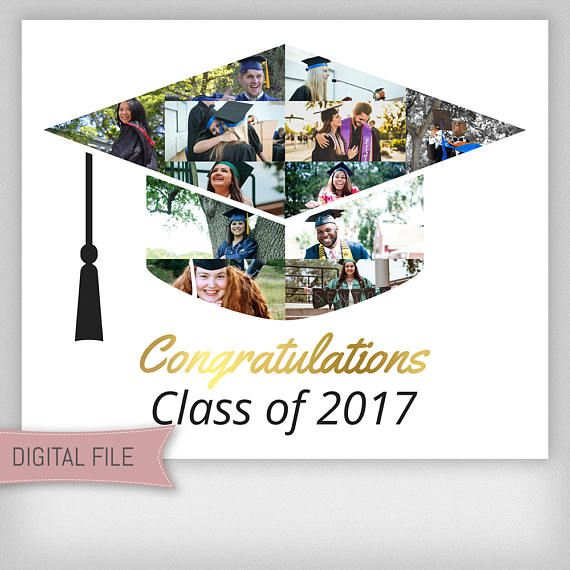 Custom Graduation Photo Collage, Graduation Cap, Personalized Gift, Gift For Him, Gift For Her, Grad Gift, Class of 2017, Digital File