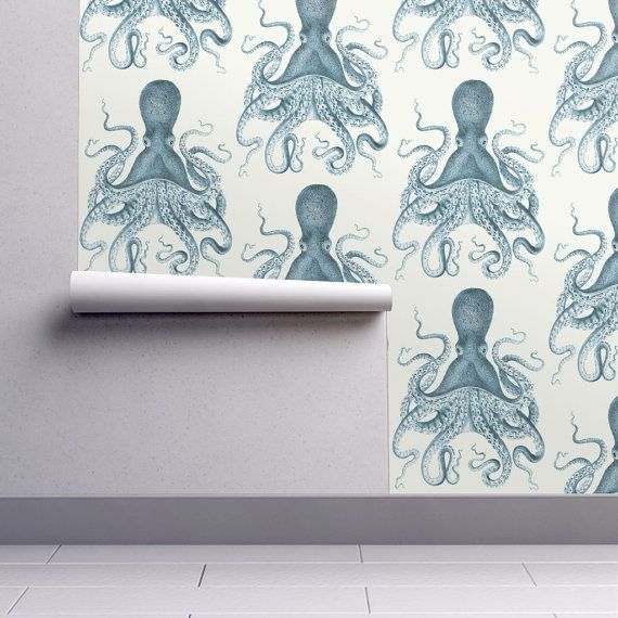 Nautical Wallpaper - Octopus Oasis in Sea by Willow Lane Textiles - Custom Printed Removable Self Adhesive Wallpaper Roll by Spoonflower
