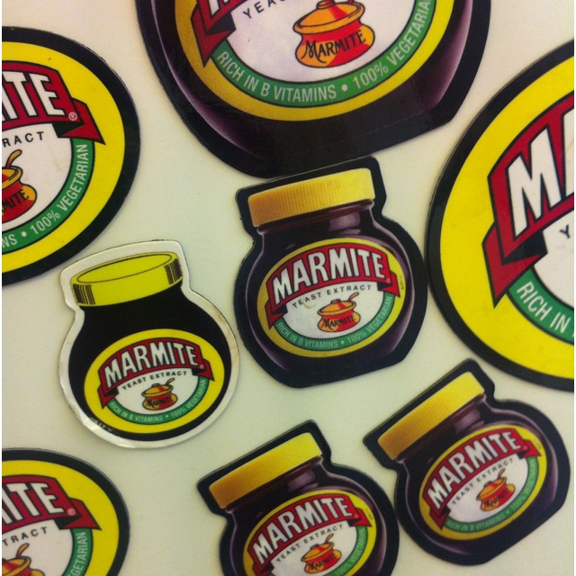 Our Marmite magnet collection. Love it.  (or hate it? Lol)