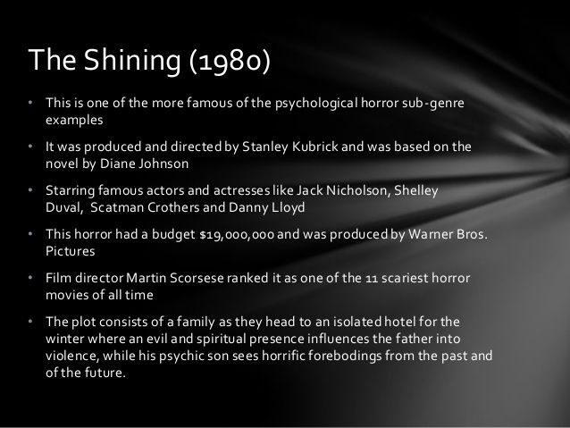 Psychological Horror Film Research