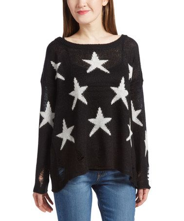 Black & White Star Laser Cut Long-Sleeve Top #zulily #zulilyfinds