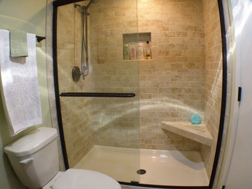 Corner bench white plastic shower pan partial frame shower door sliding niche and I like