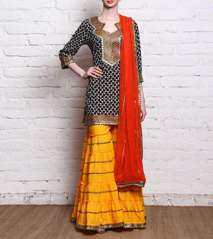 Multicoloured Printed Malmal Sharara Set