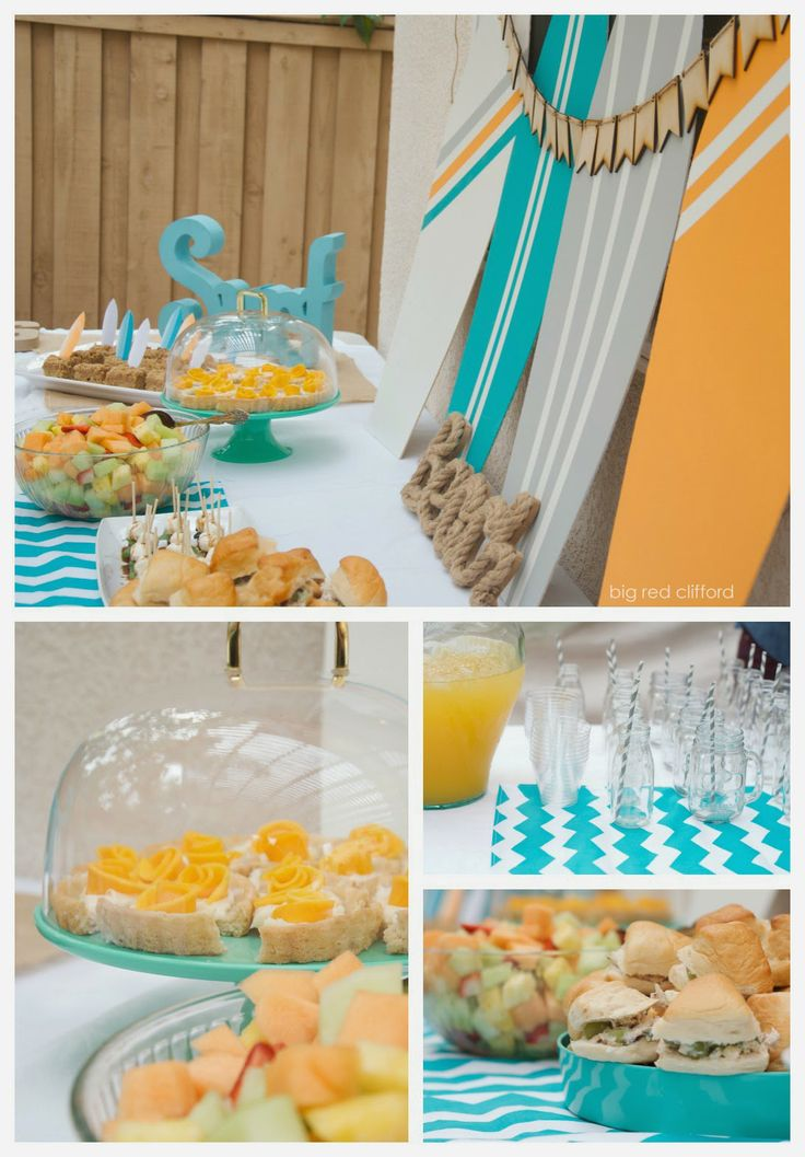 DIY beachy surfer dude baby shower in teal and orange. recipes included. | bigredclifford.com