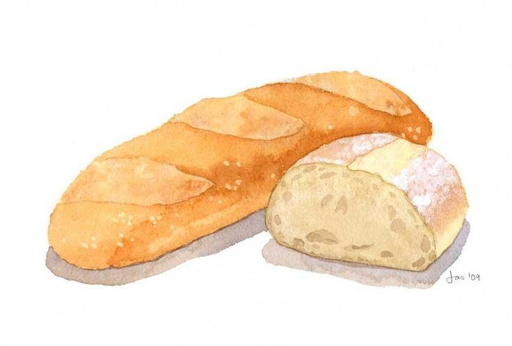Baked Bread - Watercolor 10x8 Print